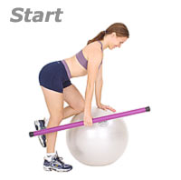One knee on Swiss Ball, one arm Row with Sissel Exercise Ball and Sissel Body Toning Bar