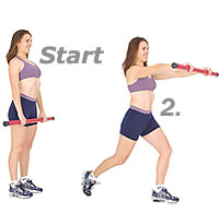 Thumb - Backward Stepping Lunge Front Raise with Sissel Body Toning Bar