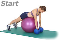 Prone Row on Sissel Exercise Ball with Sissel Power Weight Ball