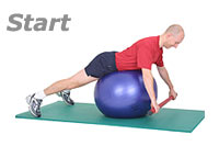 Prone wide-rip Row with Sissel Exercise Ball and Sissel Body Toning Bar