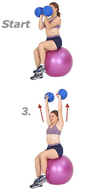 Seated Arnold Press on Sissel Exercise Ball with Sissel Power Weight Ball