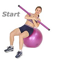 Side Crunch on Sissel  Exercise Ball with Sissel Body Toning Bar
